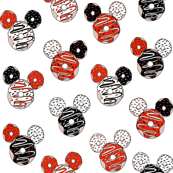Donuts fabric - red and black, donut fabric, magic donuts, mouse donuts,