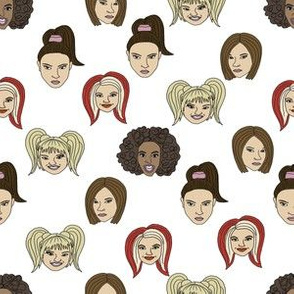 spice girls fabric - spice girls, scary, baby, posh, ginger, sporty - girl power - white