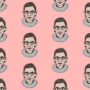 rbg fabric - ruth bader ginsburg fabric, feminist fabric, supreme court justice, usa fabric - pink