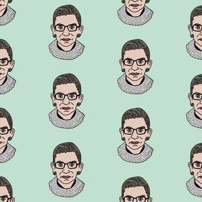 rbg fabric - ruth bader ginsburg fabric, feminist fabric, supreme court justice, usa fabric -mint