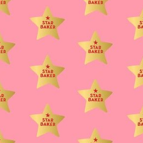 star baker fabric - gbbo, british bake off fabric -  pink