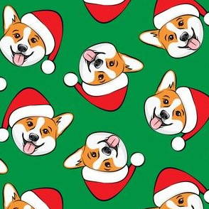 Corgis with Santa hats - green