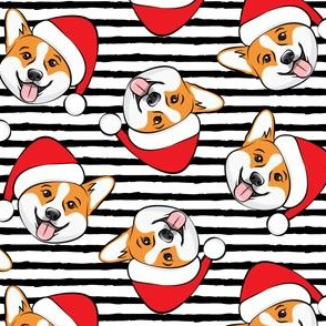 Corgis with Santa hats - black stripes