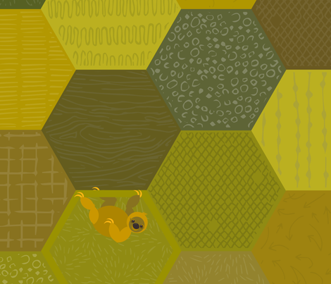 Sloth-a-gons fabric by beckarahn on Spoonflower - custom fabric