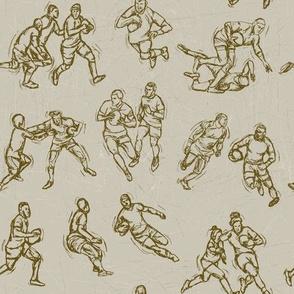 Rugby Sketch brown on brown
