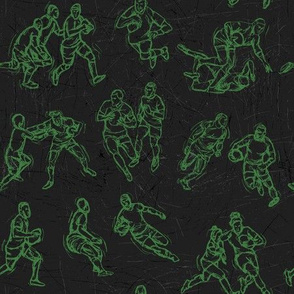 Rugby Sketch green on black