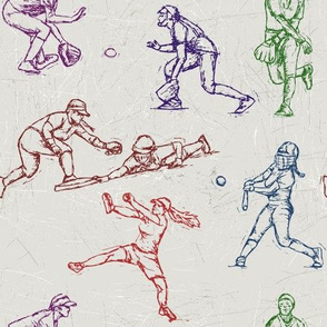 Softball Sketches 4 color on white