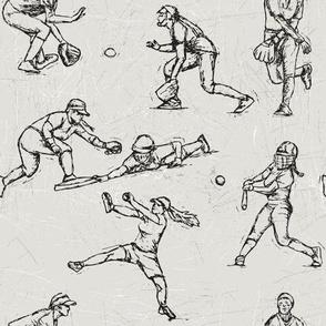 Softball Sketches black on white