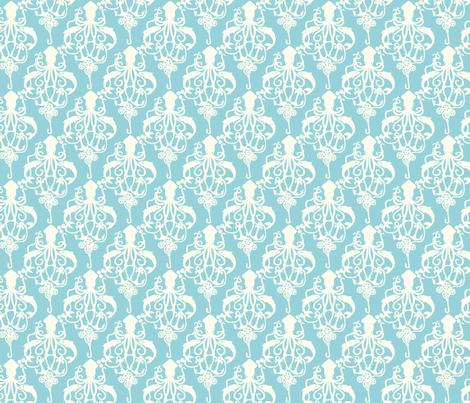 Steampunk Squid Damask Small Aqua fabric by beckarahn on Spoonflower - custom fabric