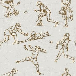 Softball Sketches brown on white