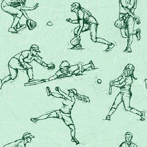 Softball Sketches green on white