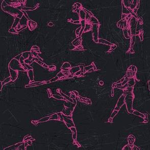 Softball Sketches pink on black