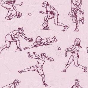 Softball Sketches purple on purple