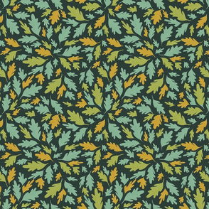 Woodland leaves (teal and yellow)