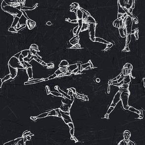 Softball Sketches white on black