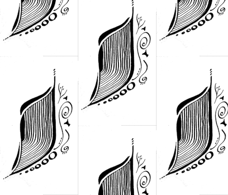 Black & White Leaf Sketch fabric by shmaerte_designs on Spoonflower - custom fabric
