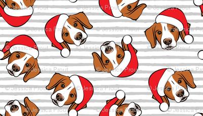 Christmas Brittanys - grey stripes