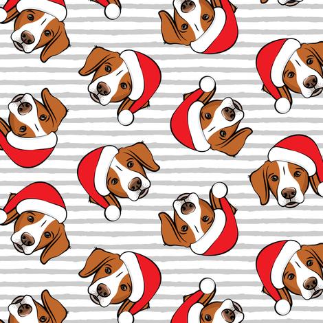 Christmas Brittanys - grey stripes fabric by littlearrowdesign on Spoonflower - custom fabric