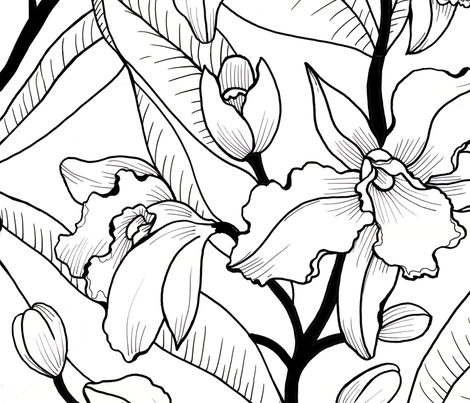 Bold Black and White Orchid fabric by maliuana on Spoonflower - custom fabric