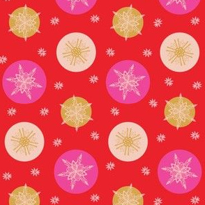 Bold pink and red snowflakes