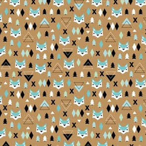 Geometric fox and pine tree illustration pattern brown mint boys XS