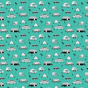 Cool summer camping mint tent caravan and camper van illustration vacation design