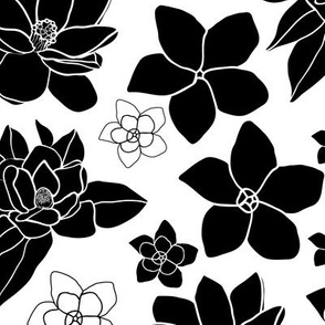 Plumeria and Magnolia-Flowers in Bloom repeat pattern