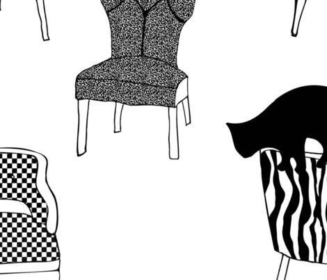 black cats on chairs fabric by reemstudio on Spoonflower - custom fabric