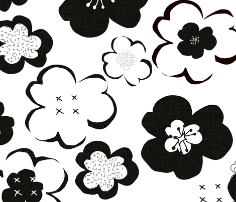 BlackAndWhiteLargeScaleFlowers fabric by maredesigns on Spoonflower - custom fabric