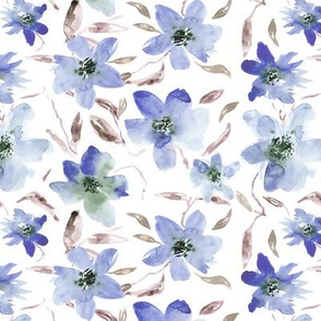 Bloom in blue • watercolor florals