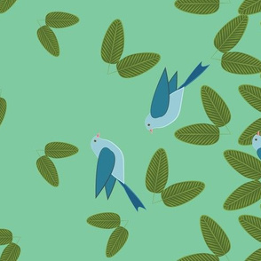 Swallows Border Tropical Green