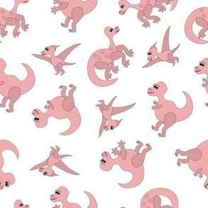 pink dinosaurs on white