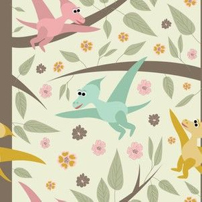 dinosaurs flying pterodactyl,  trees