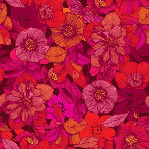 Hellebore lineart florals | red
