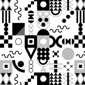 Memphis Jumbo Fabric and Wallpaper Black and White