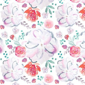 IBD Sweetheart Florals White 5x5