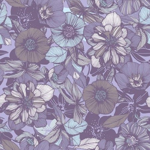 Hellebore lineart florals | soft winter