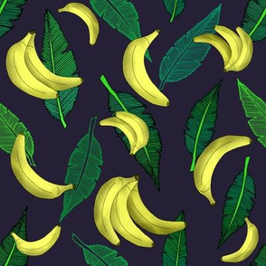 Tumbling Bananas over Banana Leaves