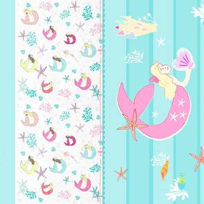 YARD 42 castle pals mermaid pink quilt - wholecloth