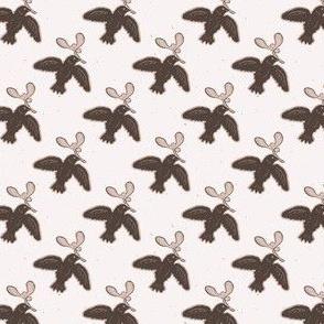 Folk Art Bird Mistletoe Lino Cut