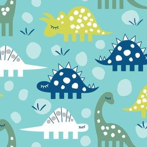 navy white green dinos on teal