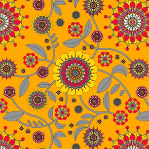 geometric flowers yellow