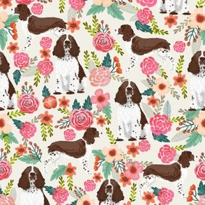 Floral English springer Spaniel fabric dog pattern, spring spaniel fabric, dog fabric, pet dog floral fabric, dog pattern, cute dog - cream
