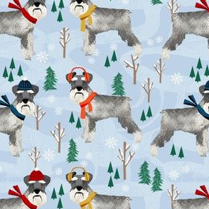 winter schnauzer dog pattern fabric - snow day fabric, winter fabric, schnauzer dog fabric - dogs fabric, schnauzer dogs - winter blue