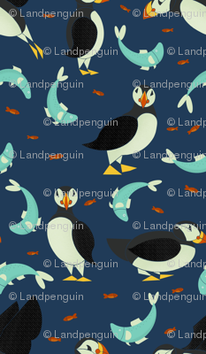 Puffins and Fish on Dark Blue