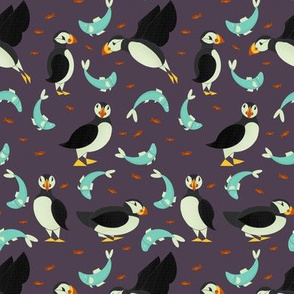 Puffins and Fish on Purple