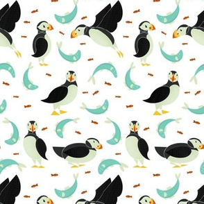 Puffins and Fish on White