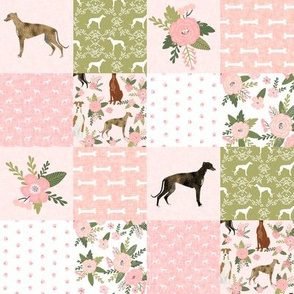 SMALL - greyhound pet quilt d cheater quilt nursery dog quilt