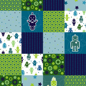 Robot Cheater Quilt - Continuous Railroad