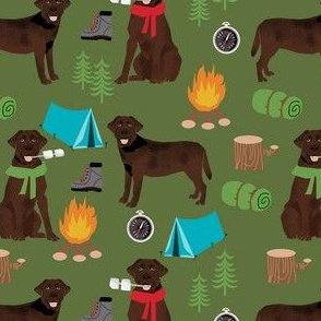 chocolate labrador dog camping pattern fabric - dog fabric,  pattern, labrador fabric, camping fabric, dog design - green